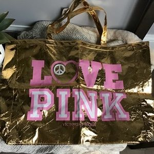 Victoria Secret Pink Vintage Gold Tote Bag